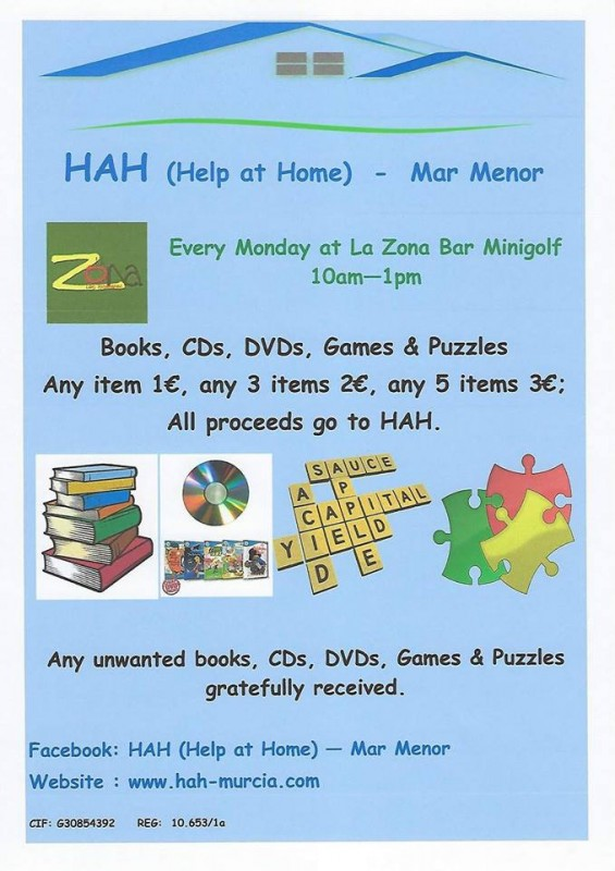 Every Monday HAH Help at Home tabletop sale Los Alcázares