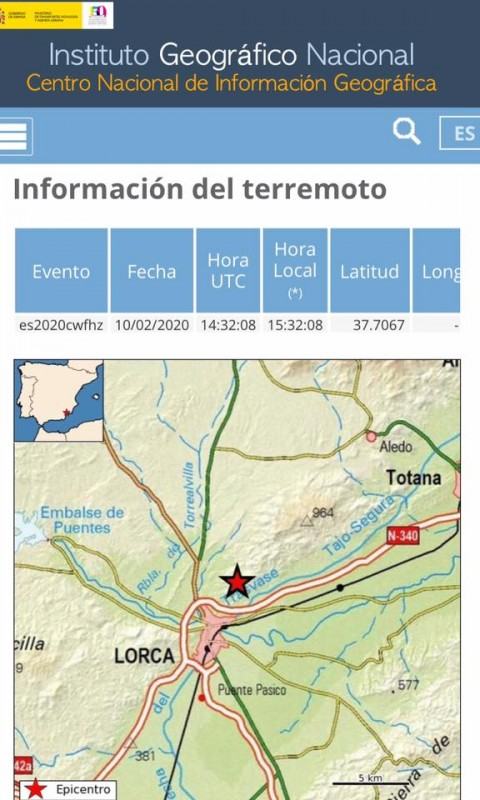 <span style='color:#780948'>ARCHIVED</span> - Minor earth tremor in Lorca on Monday afternoon