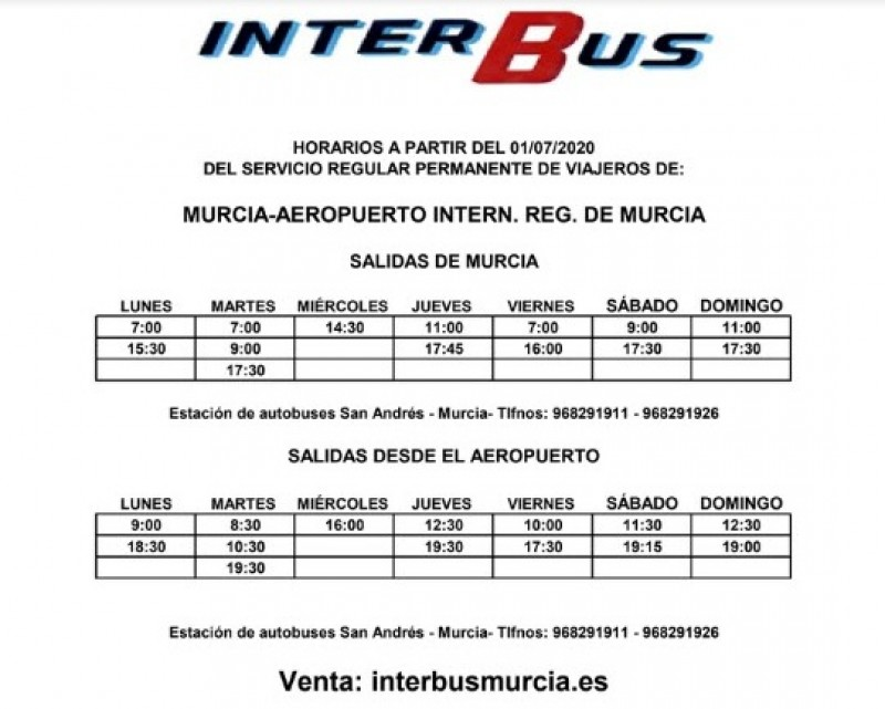 <span style='color:#780948'>ARCHIVED</span> - Covid safe bus services from Corvera airport to Murcia City 2020