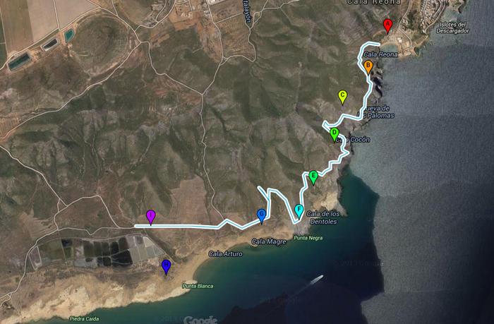 4-kilometre geological walk from Cala Reona to Salinas del Rasall in Calblanque regional park